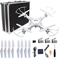 Syma X5C-1 RC Quadcopter Toys with Potable Carrying Case 3 Batteries and 4 in 1 Charger, HD Camera Explorers 2.4GHz 6 Axis Gyro 4CH Drone, Extra: 4 x propellers