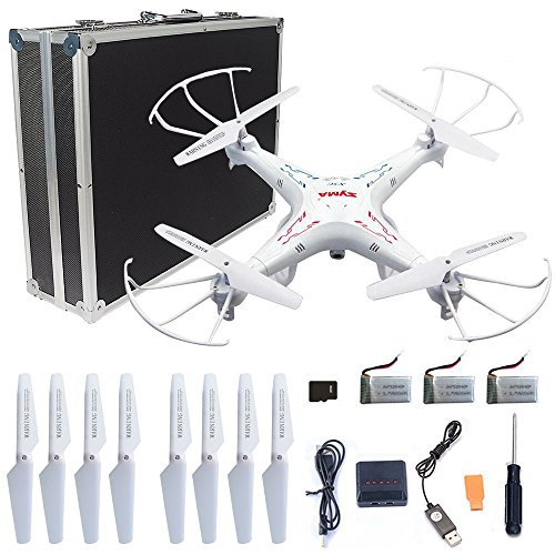 Syma X5C-1 RC Quadcopter Toys with Potable Carrying Case 3 Batteries and 4 in 1 Charger, HD Camera Explorers 2.4GHz 6 Axis Gyro 4CH Drone, Extra: 4 x propellers by R RECOMFIT