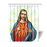 Catholic Christian Religious Church Gifts Jesus Christ The Son Of God Waterproof Bathroom decor Fabric Shower Curtain Polyester 60 x 72 inches