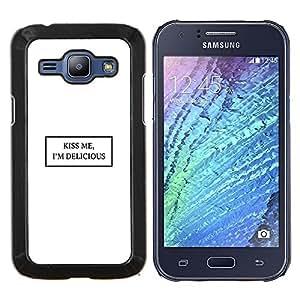 Stuss Case / Funda Carcasa protectora - Kiss Me Bianco Citazione Testo minimalista Amore - Samsung Galaxy J1 J100