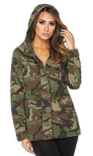 SOHO GLAM Hooded Parka Coat In Olive and Black (Plus Sizes Available (Camo Utility Jacket)