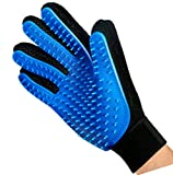 Mr. Peanut's HanD Glove Grooming Brush and Deshedding Aid - Pet Hair Remover Mitt - For Long and Short Hair Grooming of Dogs - Horses - Bunnies and Some Agreeable Cats - Pet Massage (Blue)
