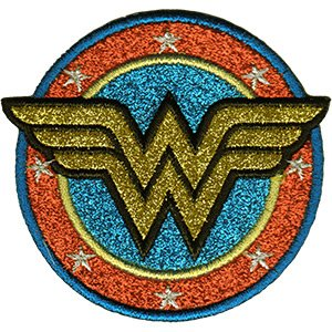 - C&D Visionary DC Comics Originals Wonder Woman Shield Glitter Patch Iron-On Patches (P-DC-0188-G)
