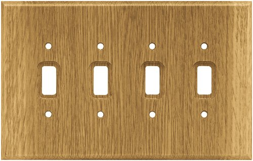 Brainerd 126431 Wood Square Quad Toggle Switch Wall Plate / Switch Plate / Cover, Medium - Oak Quad