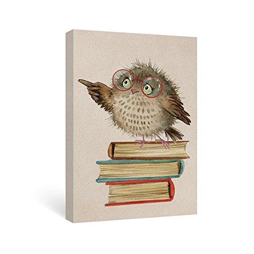 SUMGAR Animal Wall Art Owl Canvas Artwork for Nursery Ready to Hang,16x24inch (Framed Teacher)