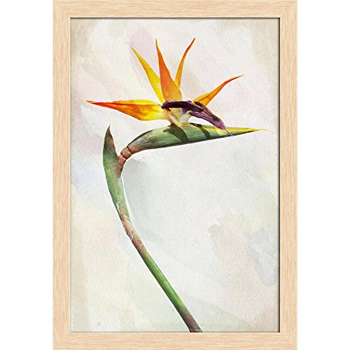 Bird Of Paradise Natural Wood - ArtzFolio Exotic Bird of Paradise Flower Canvas Painting Natural Brown Wood Frame 16 X 23Inch