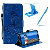 Strap Leather Case for Huawei P20,Wallet Leather Case for Huawei P20,Herzzer Premium Stylish Pretty 3D Blue Butterfly Printed Bookstyle Magnetic Full Body Soft Rubber Flip Portable Carrying Stand Case with Card Holder Slots