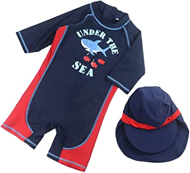 Digirlsor Toddler Baby Boys One Piece Swimsuit Kids Rash Guard Zipper Surfing Bathing Suit Swimwear with Hat UPF 50+