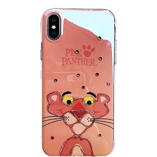 Ultra Slim Soft TPU Pink Leopard Panther Case for iPhone X iPhoneX Shiny Bling Sparkling Crystal Rhinestones Luxury Shockproof Cute Chic Lovely Cool Girls Women Teens Kids