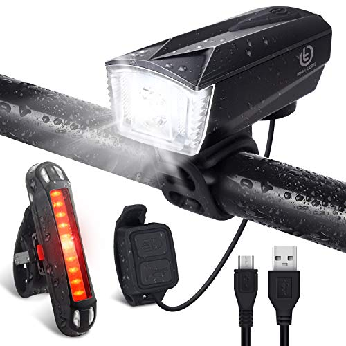 Bike Light Set [Remote Switch], OMERIL Rechargeable Bicycle Lights with 300...
