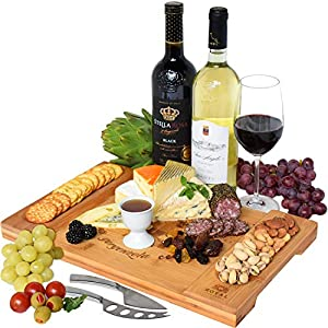 Unique Bamboo Cheese Board, Charcuterie Platter & Serving Tray for Wine, Crackers, Brie and Meat. Large & Thick Wooden Server - Fancy House Warming Gift & Perfect Choice for Gourmets (Bamboo) 4