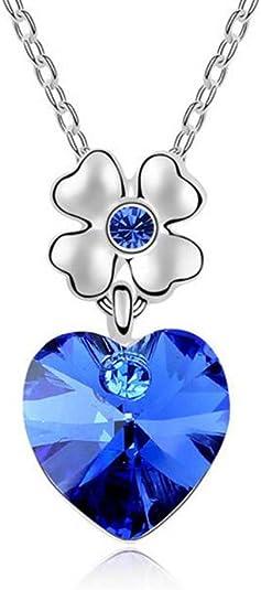 Winter's Secret Austrian Crystal Dancing Heart Blue Pendant Flower Silver Chain Necklace