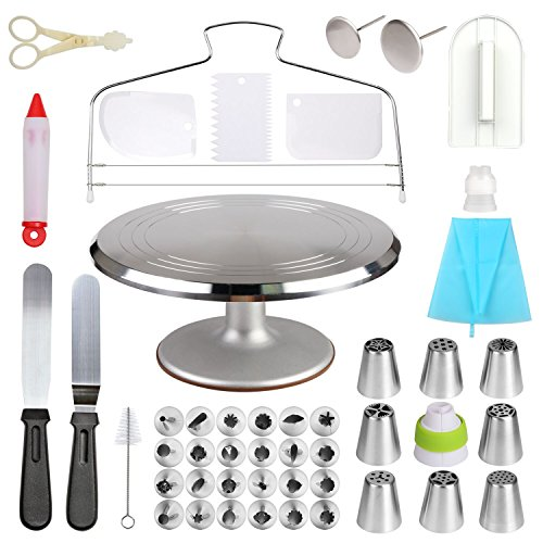 Cake Decorating Supplies Aluminium Alloy Revolving 12 Inch Cake Turntable with 2 Icing Spatula and 3 Icing Smoother 32 Pcs Piping Nozzles Rotating 1 Pastry Bag Cake Leveler for Cake Decorating