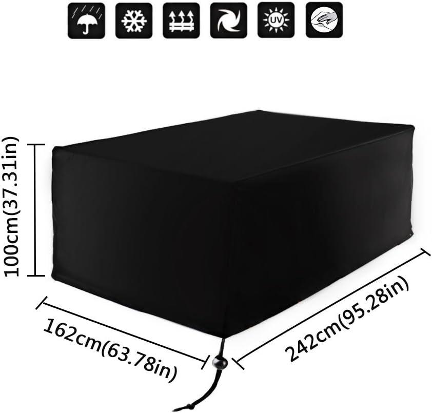 Xiliy - Funda Rectangular Impermeable para el Jardín, 242×162×100cm, Negro