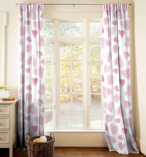 Carousel Designs Pink Watercolor Hearts Drape Panel 96-Inch Length Standard Lining 42-Inch Width by Carousel Designs