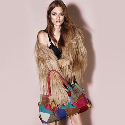 Diagonale Color Noir Couture Wknbeu Sacs Mode Main Couleur À Femmes Épaule Des Rétro Grande Cuir Z6S0q6