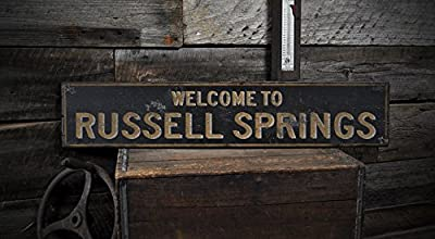Welcome to RUSSELL SPRINGS, KENTUCKY - Rustic Hand-Made Vintage US City Wooden Sign