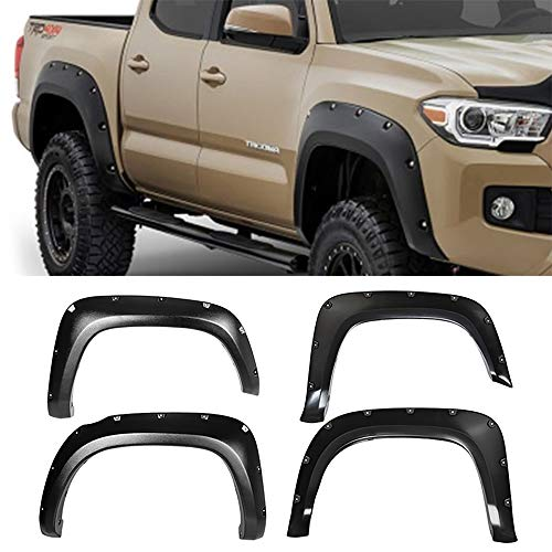 Fender Flares Fits 2016-2018 TOYOTA TACOMA | Pocket-Riveted Style Textured Black ABS Front Rear Right Left Wheel Cover Protector Vent by IKON MOTORSPORTS