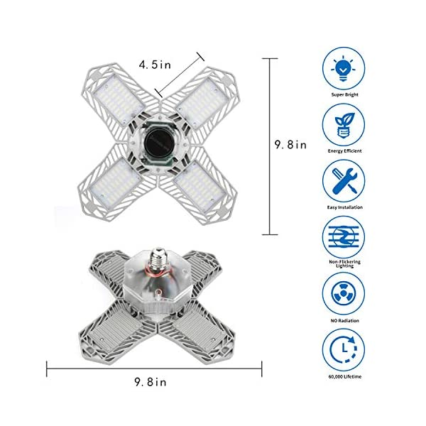 LED Garage Lights, New Upgrade 150W Deformable Four Leaf Ceiling Light, 15000LM Ultra-Bright Trilight Lighting with 4… 3