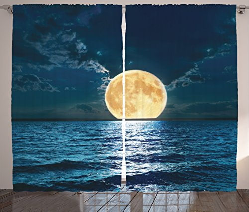 Ocean Decor Curtains 2 Panel Set by Ambesonne, Magical Super Moon Over Ocean Surface Midnight View Dreamy Mystic Picture Print, Living Room Bedroom Decor, 108W X 84L Inches, Yellow Navy