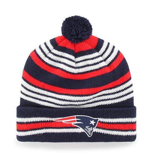 NFL New England Patriots Kids Rickshaw OTS Cuff Knit Cap with Pom, Light Navy, Kids