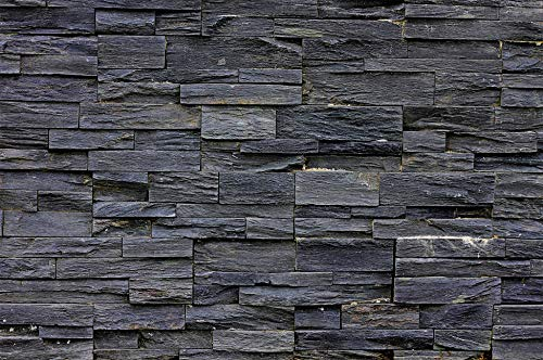 - GREAT ART Photo Wallpaper Black Stonewall Decoration 132.3x93.7in / 336x238cm - Wallpaper 8 Pieces Includes Paste.