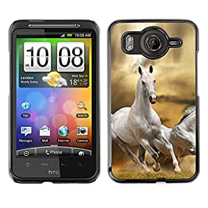 - RUNNING FIELD HORSE DESERT FREE WILD WHITE - - Monedero pared Design Premium cuero del tir???¡¯???€????€?????n magn???&rsqu