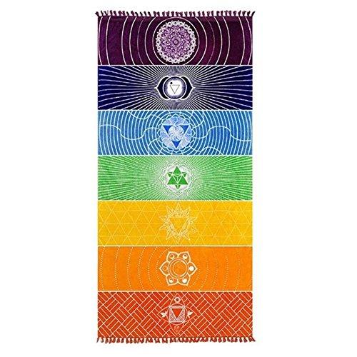 ANPI Single Yoga Towel, Wall Hanging Blanket Sunscreen Shawl Wrap Skirt 100% Cotton Mat with Tassels Rainbow Tapestry Stripes Yoga Mats Beach Towel