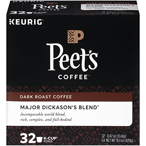 (Peet's Coffee K-Cup Packs Major Dickason's Blend, Dark Roast Coffee, 32 Count Single Cup Coffee Pods, Rich, Smooth & Complex Dark Roast Blend, Full Bodied & Layered Flavor; for Keurig K-Cup Brewers)