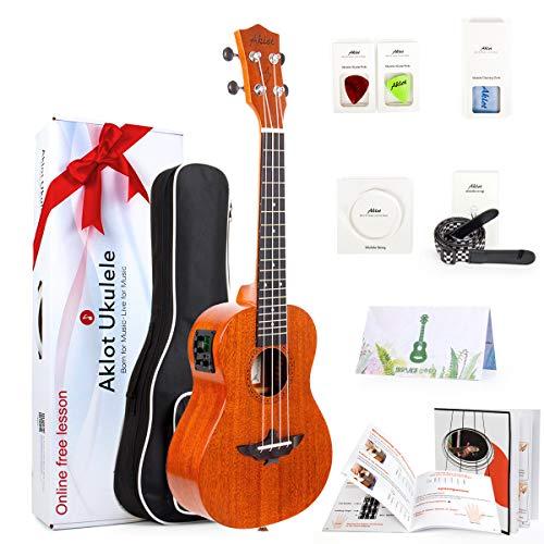 AKLOT 43211-32227 Electric Acoustic Concert Ukulele Solid Mahogany Ukelele 23