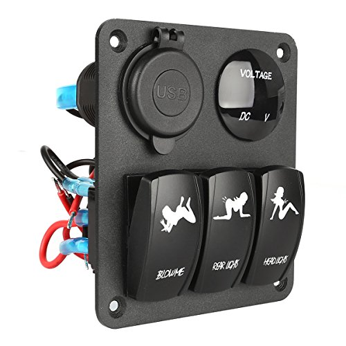 LeaningTech Marine Car Switch Panel 3 Gang with 1 Charger and 2 USB Slot Blue LED Light 5pin On/off Rocker Switch (Winch Control Panel compare prices)
