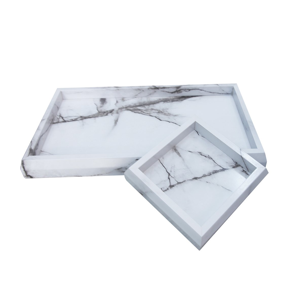 Roomfitters Marble Print Vanity Tray Set, Best Bathroom Catchall Trays for Jewelry Perfume, Upgraded Version Water Resistant, Anti-Scratch by Roomfitters (Image #4)