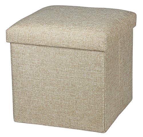 FASTUNBOX (LABEL) Folding Ottoman Cube Seat, Foot Stools and Ottomans with Storage, Ottoman Footstool Toy Chest Memory…