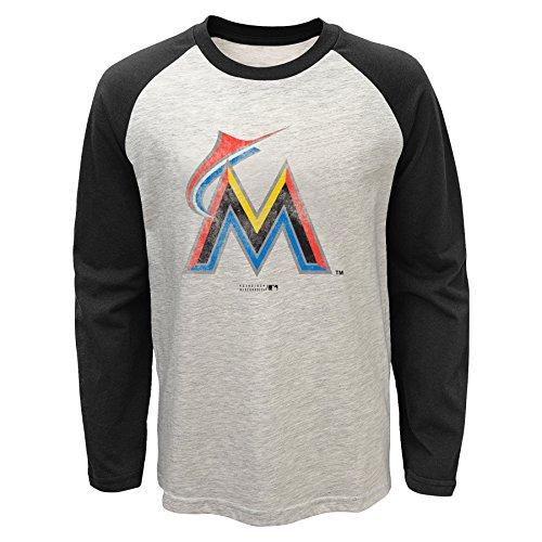MLB Miami Marlins Youth Boys 820 Long Sleeve Raglan Tee, X-Large(18), Oatmeal Heather (Marlin Long Sleeve Tee)