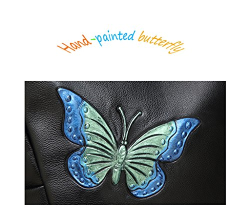 Bag Shoulder SHINGING Casual Three Women's Dimensional Bag Multi Wild Function Style Black Butterfly KIDS Leather Print Fashion Backpack gUgw6z