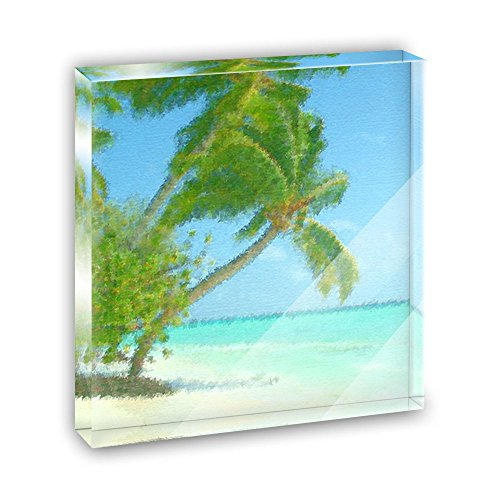 Palm Plaque - Island Beach Palm Tree Caribbean Vacation Acrylic Office Mini Desk Plaque Ornament Paperweight