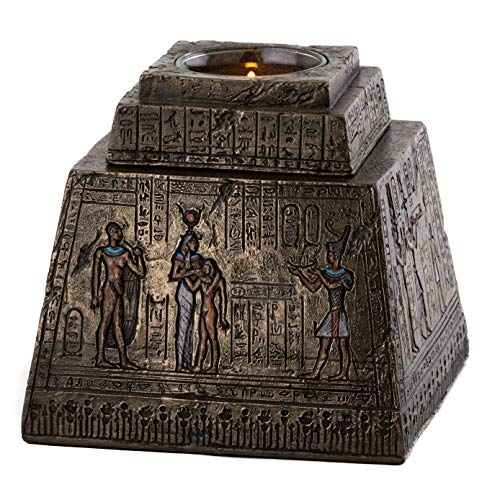 Top Collection Ancient Egyptian Pyramid T-Light Box - Decorative Candle Holder in Premium Cold Cast Bronze - 4-Inch Collectible Votive Candle Pillar
