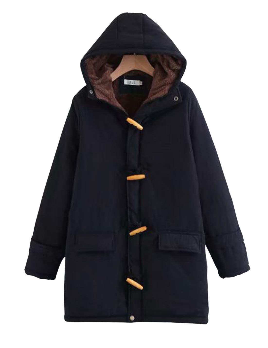 Gihuo Women's Casual Fleece-Lined Winter Warm Coat Hooded Jacket (Style#2 Black, X-Small)