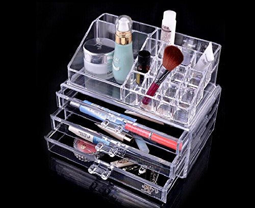 Makeup Cosmetics Organizer Clear Acrylic Drawers Grids Display Box Storage -  - organizers, bathroom-accessories, bathroom - 51FNUyI0epL -