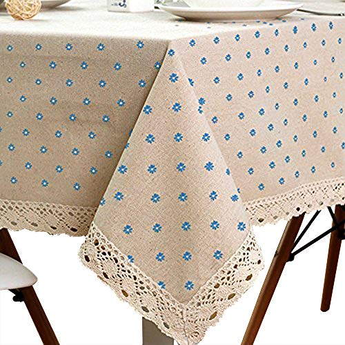 Cotton And Hemp, Machine Washable, Dinner, Summer & Picnic Tablecloth, Available In Various Sizes(Blue,35.4x55.1In) by LINENLUX