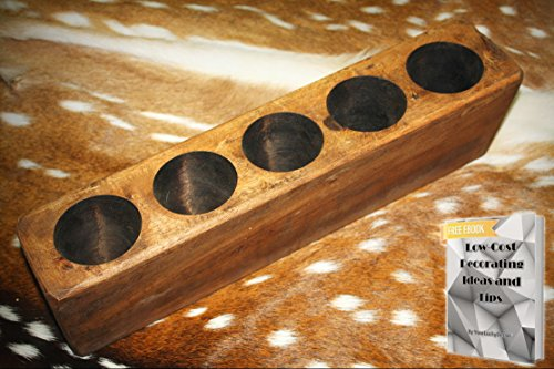 5 Hole Wooden Sugar Mold Wood Candle Holder Primitive + free eBook by YourLuckyDecor