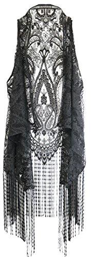 New Dimensions Black Lace Me Entertain You Women's One Size Polyester Fashion Vest