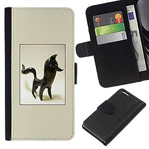 KLONGSHOP // Tirón de la caja Cartera de cuero con ranuras para tarjetas - Fox Estatuilla Figurita 3D Arte Negro Animal - Apple Iphone 5C //