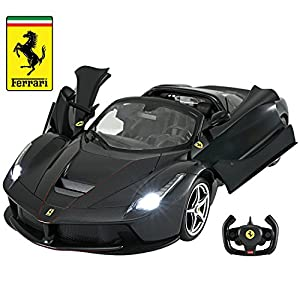 Licensed RC Car 1:14 Scale Ferrari LaFerrari Aperta with Drifting Function | Rastar Radio Remote Control 1/14 RTR Super Sports Car Model (Black)