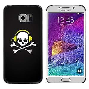 LECELL -- Funda protectora / Cubierta / Piel For Samsung Galaxy S6 EDGE SM-G925 -- Skull Beat Bones --