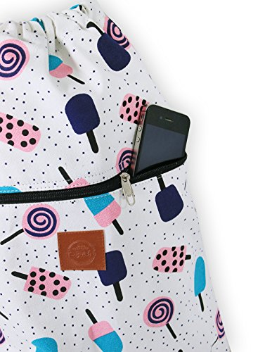 T-BAGS Thailand Baumwoll Turnbeutel Hipster - mit Reißverschluss - 24 Designs