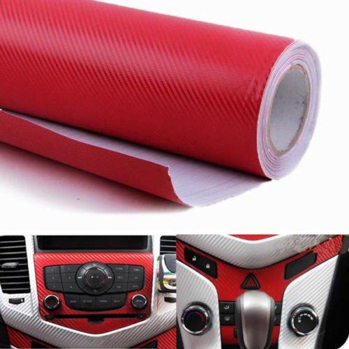 Diy Carbon Fiber (WindMax® 3D Carbon Fiber Vinyl Car DIY Wrap Sheet Roll Film Sticker Decal - Red Color 30*152cm)