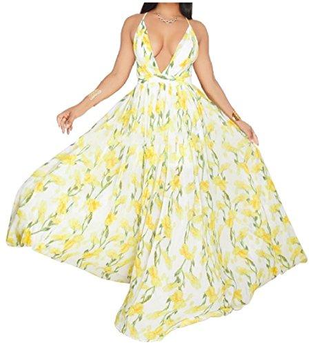 Coolred-femmes Grande Pendule Teinture Colorée De Grande Hauteur Sans Dossier Rafraîchir Robes À Fleurs Jaunes