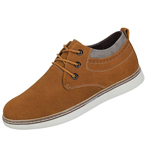 Snowman Lee Men's Genuine Suede Leather Lace-Up 2.8 Inches Taller Height Increasing Elevator Shoes Khaki 8.5 M US