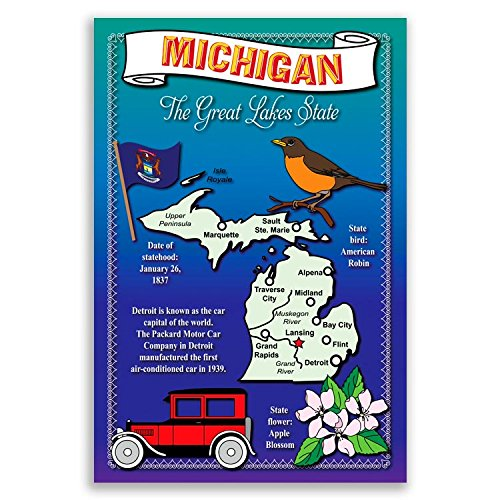 MICHIGAN STATE MAP postcard set of 20 identical postcards. Post cards with MI map and state symbols. Made in USA. (Mi Postcard)